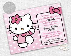 """☆☆ Invitation Anniversaire """"Hello Kitty"""" ☆☆ Création de cartons d'invitation d'anniversaire pour enfant, thème d'Hello Kitty - Possibilité d'un envoi d'un PDF pour une impression par vous-même ou impression par nos soins avec prix dégressifs selon la quantité - Format : 10 x 14 cm. Plus de détails sur le site. #anniversaire #HelloKitty #invitation"""