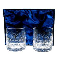 Engraved Crystal Wedding Whisky Glasses