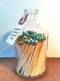 Apothecary matchstick bottle.  I need to make this!! As a gift or for myself. A must have.