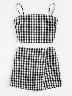 Knot Back Checked Cami With Shorts -SheIn(Sheinside) shorts shorts shorts shorts outfits shorts Girls Fashion Clothes, Teen Fashion Outfits, Outfits For Teens, Trendy Outfits, Cute Comfy Outfits, Cute Summer Outfits, Cool Outfits, Two Piece Outfits Shorts, Indie Scene Outfits