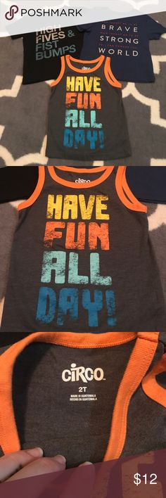 3 Boys Shirts - 2 Short Sleeve & 1 Tank Top 3 Boys Shirts - 2 Short Sleeve & 1 Tank Top. Both short sleeves are 3T but seem to fit like a 2T on my son. No stains or rips. Shirts & Tops Tees - Short Sleeve