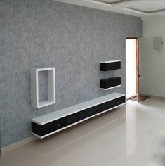 Blue-gray carved stone wallpaper Interior design by Follo Tv Unit Furniture Design, Tv Unit Interior Design, Modern Tv Cabinet, Modern Tv Wall Units, Wall Unit Designs, Living Room Tv Unit Designs, Tv Unit Decor, Tv Wall Decor, Lcd Wall Design