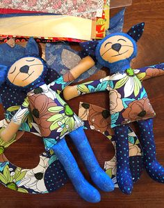 Cute Fabric Cat Dolls made with Sizzix Dies from the Kid Giddy line.