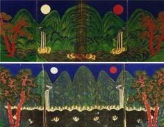 일월오봉도  Painting of sun moon and five peaks placed behind the king's throne, Josun dynasty, Korea