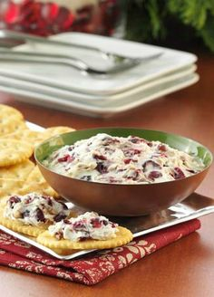 It only takes 5 minutes to stir up this festive Pecan Cranberry Spread.