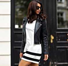 The Styleograph white dress and leather jacket