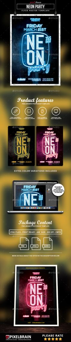 Neon Party Flyer Template — Photoshop PSD #live music #postcard • Available here → https://graphicriver.net/item/neon-party-flyer-template/17827941?ref=pxcr