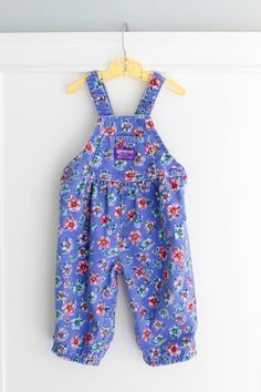 12 months: Blue Flowered Baby Romper, Vintage Corduroy Overalls by OshKosh B'Gosh, for Baby Girl www.etsy.com/shop/petitpoesy