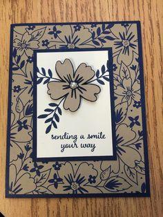 handmade greeting card ... kraft, navy and vanilla ... flowers ... Stampin' Up!
