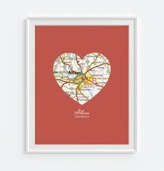 Athens Georgia Vintage Heart Map - Custom Colors - Couples- Engagement -Anniversary -Christmas- Family gift UNFRAMED ART PRINT