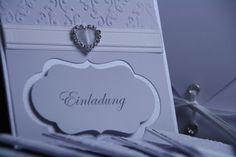 Einladungskarten - Einladungskarte Hochzeit Herz Strasssteine - ein Designerstück von EvasCardArt bei DaWanda