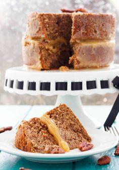 Pecan Pie Cake   #dessert #cake #vegetarian   http://thecookiewriter.com