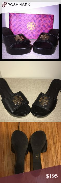 "Tory Burch Laura Wedge 85mm Shoes Black Tory Burch wedge shoes are the perfect shoes to kick off the summer. Shoes are brand new including original box, only tried on inside the house. Platform is approximately 1.5"" and heel height is 3 2/4"". Not eligible for a bundled item. Would probably work best for someone who has narrow feet or is 9.5. Tory Burch Shoes Sandals"