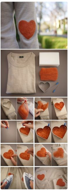 I came across this tutorial on how to make elbow pacthes for your plain old jersey, but not just any elbow patches, heart shaped ones. They are so so sweet and