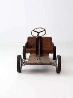 Wooden Ride On Toys, Wood Toys, Vintage Car Decor, Vintage Ideas, Vintage Stuff, Go Kart Tires, Wood Cart, Cheap Cars For Sale, Wood Pallet Art