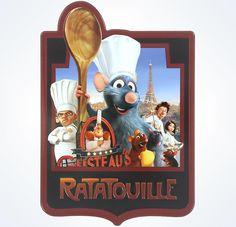 """Disney Parks Pixar Ratatouille Chef Remy Metal Plaque aluminum appr. 0.15"""" x 5.85"""" x 8.45"""" New"""