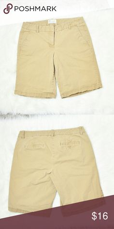 J. Crew Tan Bermuda Shorts In excellent condition! Very comfortable, stretchy, and lightweight! Buy 3 items and get 1 free plus 15% off your purchase total! J. Crew Shorts Bermudas