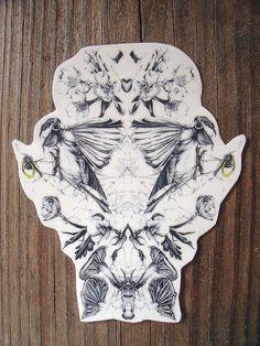 Temporary Tattoo with Chickadee Botanical Print by BurrowingHome, $8.00