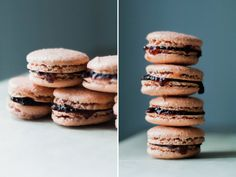 Easy macaron recipes!  Ingredients for the macaron cookies:  3/4 cup of almond flour 1 cup of powdered sugar a.k.a confectioners sugar 1/4 cup granulated sugar two room temperature egg whites 1 or 2 drops of food color dye (optional) vanilla or almond or mint extract (optional)
