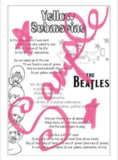 'Yellow Submarine' The Beatles Lyrics Sheet. by Missy G Beatles Lyrics, The Beatles, Yellow Submarine, Teacher Newsletter, Teacher Pay Teachers, Poems, Printables, Teaching, Education