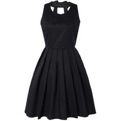 Pure Color Back Bowknot Hollow Out Pleated Dress (€24) ❤ liked on Polyvore featuring dresses, rosegal, pleated dresses and pleated cocktail dress
