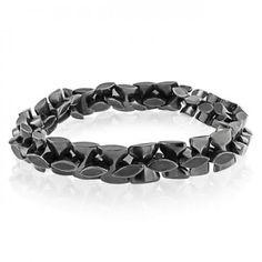 Hematite Gemstone Bead Geometric Modern Leaf Stretch Bracelet Unisex
