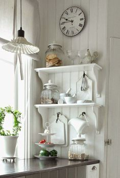 Great Shabby Chic Kitchen Ideas To Get You Started Decor, Home Decor Kitchen, Farmhouse Kitchen Decor, Farmhouse Decor, Kitchen Decor, Cottage Decor, Home Decor, Country Decor Rustic, Shabby Chic Kitchen