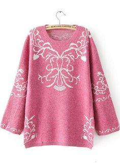 Pattern knit tops bat sleeve long sweater ghl3000