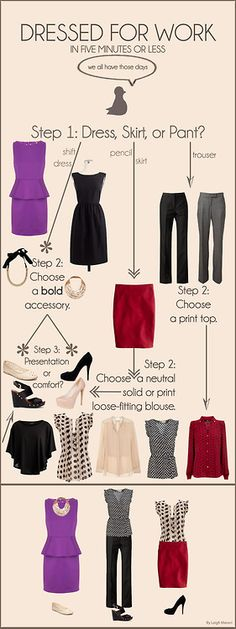 Dressed for work in 5 minutes or less! My (bigs) first infographic. :) so smartl!!