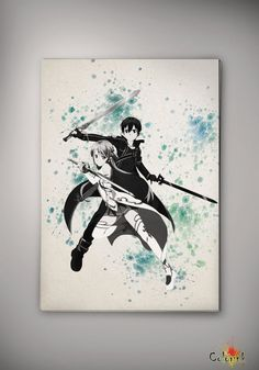 Sword Art Online Kirito Watercolor Print 8x11 11x16 Archival Print - Art Print - Wall Decor Art Poster- Anime Print- Manga -Cartoon Geek A3 on Etsy, 62,62 zł