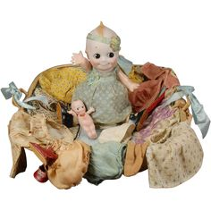 13-1/2 Kewpie Googly from the J. D. Kestner firm (marked O'Neill JDK 12) who is so much more than a doll – check out her trousseau! This darling child