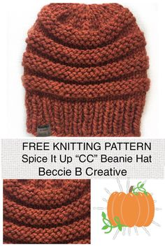 """Free Knitting Pattern: Spice It Up, Chunky """"CC"""" Beanie – Lion Brand Wool-Ease Thick & Quick in Spice colorway. This super squishy wool blend hat is a beginner-friendly pattern. Beanie Knitting Patterns Free, Beanie Pattern Free, Beginner Knitting Patterns, Easy Knitting, Knitting For Beginners, Start Knitting, Hat Patterns, All Free Knitting, Slouchy Beanie Pattern"""