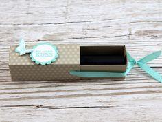 Lippenstift - Ziehverpackung gemacht mit Produkten von Stampin' Up! (Tutorial /Anleitung ) Diy Gift Box, Diy Box, Creative Box, Envelope Punch Board, Mini Scrapbook Albums, Valentine Day Cards, Stamping Up, Keepsake Boxes, Party Gifts