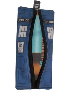 Doctor Who Tardis zipper pouch pencil case back to by TurningHeart