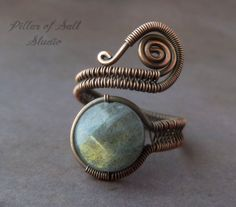 Labradorite and copper Wire Wrapped ring / copper jewelry / wire wrapped jewelry by PillarOfSaltStudio