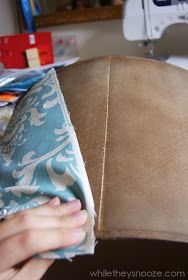 While They Snooze: How to Cover an Ugly Light Fixture Diy Light Fixtures, Textiles, Drum Shade, Being Ugly, Paper Shopping Bag, Make It Yourself, Cover, How To Make, Diy Lampshade