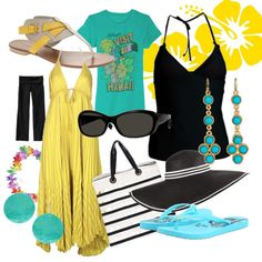Turquoise, yellow and black beach wardrobe