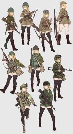 Anime girls with guns part 137 girls with guns part Anime Military, Military Girl, Anime Style, Girls Characters, Anime Characters, Character Design References, Character Art, Anime Krieger, Mädchen In Uniform