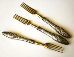 Forchette da antipasto Liberty argento 800, antique Art Nouveau silver forks