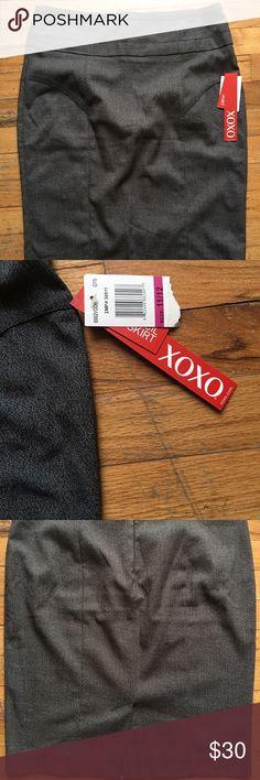 NEW XOXO 11/12 STRAIGHT PENCIL GRAY SKIRT NWT XOXO Skirts Pencil