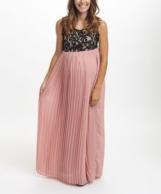 Look what I found on #zulily! PinkBlush Dusty Pink Lace Maternity Maxi Dress #zulilyfinds