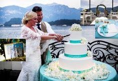 Un matrimonio dal tema verde tiffany ambientato in una spettacolare villa con vista sul lago di Como