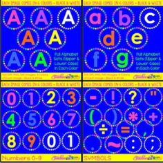 Alphabets, numbers and symbols bundle! 540 images, 300 dpi and PNG format comes in 6 colors and black and white! #TeacherGems