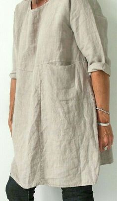 Discover thousands of images about Linen tunic dress Mode Outfits, Fashion Outfits, Womens Fashion, Linen Tunic, Linen Dresses, Sewing Clothes, Look Fashion, Gothic Fashion, Ideias Fashion