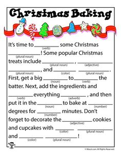 Christmas Baking Kid's Mad Libs 15 free Christmas mad libs for kids, in full color (or colorable) and ready to print! Christmas Mad Libs For Kids, Christmas Baking For Kids, Funny Christmas Party Games, Funny Christmas Songs, Christmas Trivia, Christmas Worksheets, Noel Christmas, Christmas Printables, Christmas Traditions