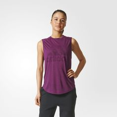 This women's sleeveless t-shirt shows off hard-earned deltoids and biceps. The relaxed-fit tee is made of lightweight jersey and features a big adidas Badge of Sport on the chest.