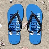I'd Rather Be Playing Volleyball Flip Flops - Kick back after a volleyball game with these great flip flops! Fun and functional flip flops for all volleyball players and fans.