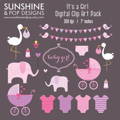 INSTANT DOWNLOAD - Its a Girl Digital Baby Shower Clip Art  for scrapbooking, invitations, and all paper crafts via Etsy