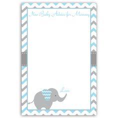 Chevron Elephant Blue Advice Card