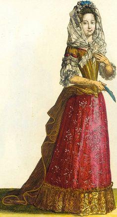 """""""Dame en Habit d'Esté"""" (1685), from """"Recueil des modes de la cour de France""""."""